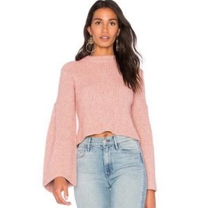 REVOLVE ENDLESS ROSE XS Pink Bell Sleeve Sweater